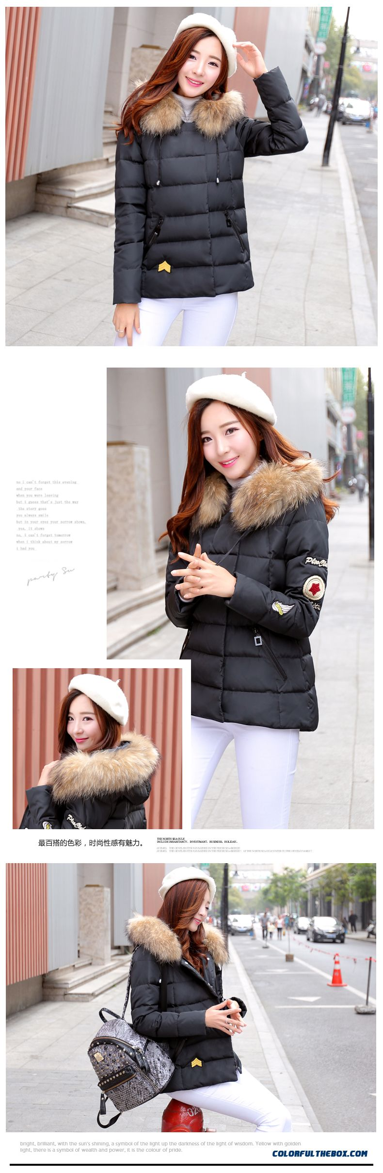 Women's Coat Slim Pink Thick Fur Collar Female Hooded Padded Cotton Jacket - detail images