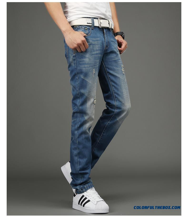Cheap Young Men Jeans Broken Hole Slim Straight Retro ...