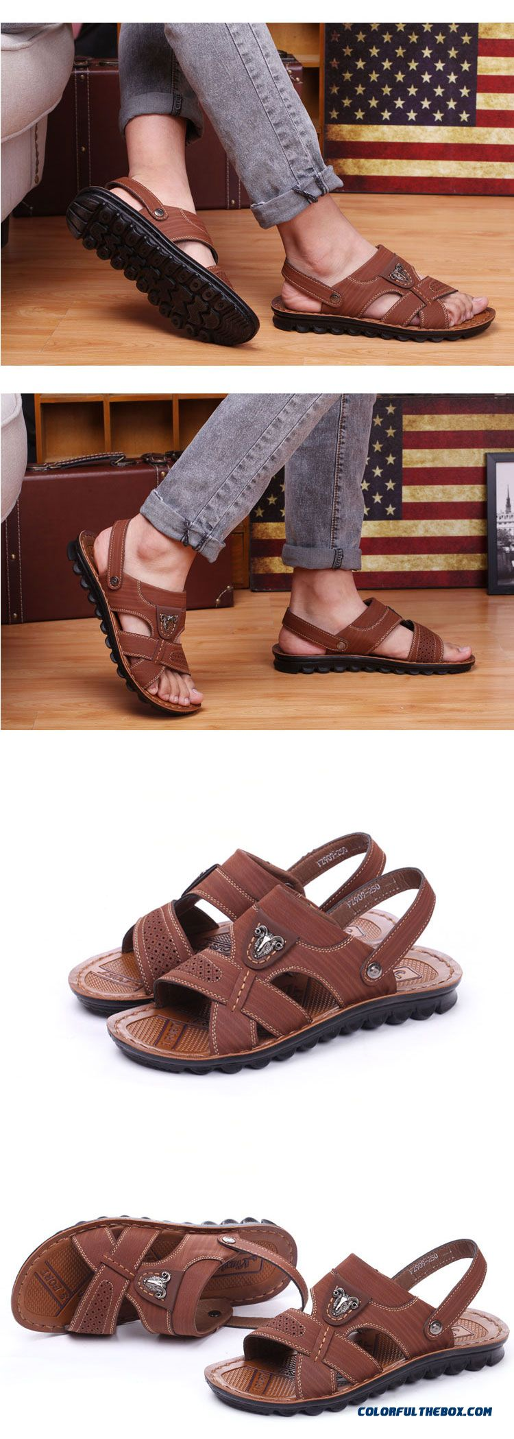 Young Men Summer Sandals Round-toe Leather Beach Shoes - detail images