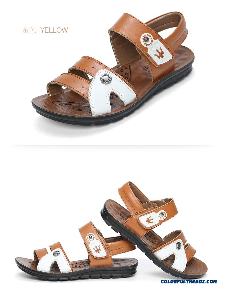 Youth Energetic Hot Sale!!! Boys' Summer First Layer Of Leather Sandals Kids Shoes - detail images