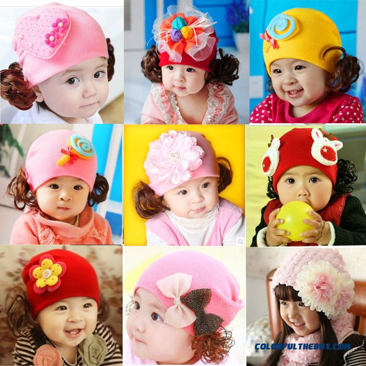 0-1-2 Years Old Infant Cotton Spring Autumn And Winter Girls Boys Baby Wig Cap 3-6-12 Months