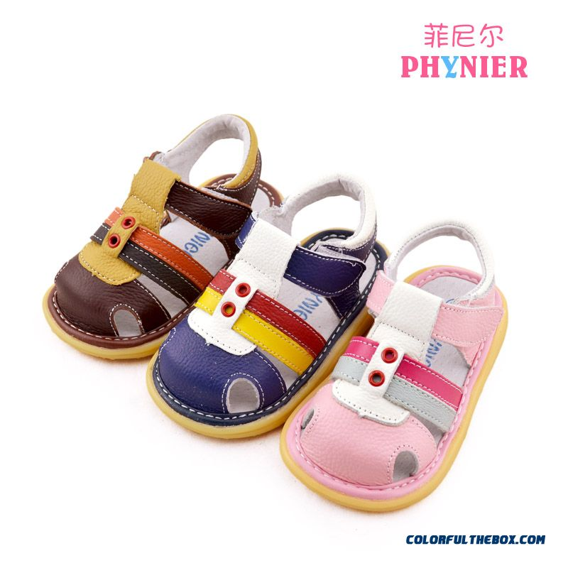 1-2-3 Year-old Children Sandals Genuine Leather Kids Shoes Girls Sandals Pinlk Blue