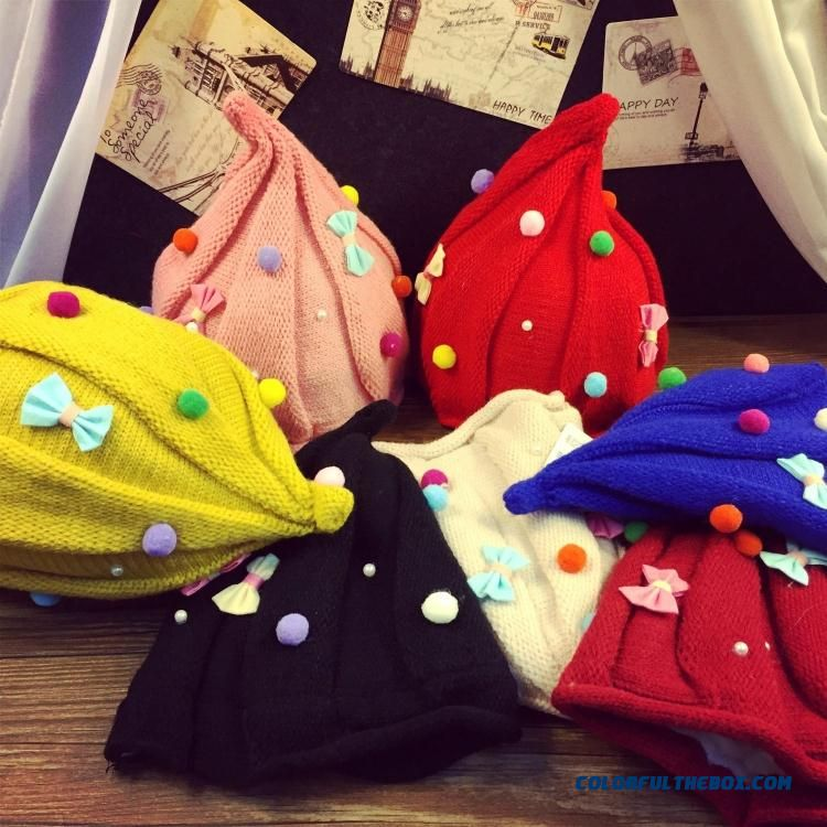 1-3 Years Old Kids Baby Warm Winter Caps Lovely Ball Bowknot Pointy Caps Boys & Girls Accessories
