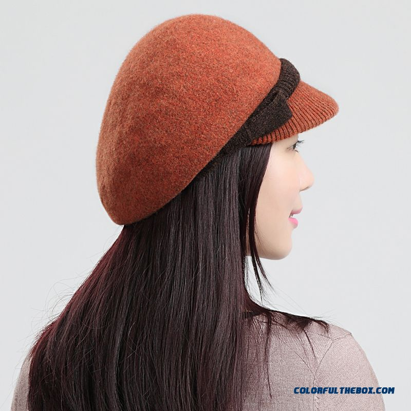 100% Wool Hat Fashion Casual Beret Bowknot High-grade Peaked Cap Women's Accessories Bargain Price Accessories