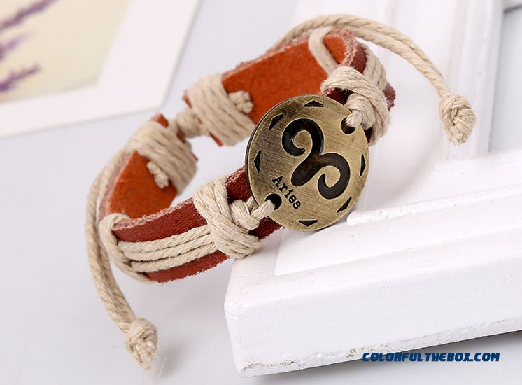 12 Constellations Retro Leather Bracelets Leather Bracelet Hot Women Birthday Gift