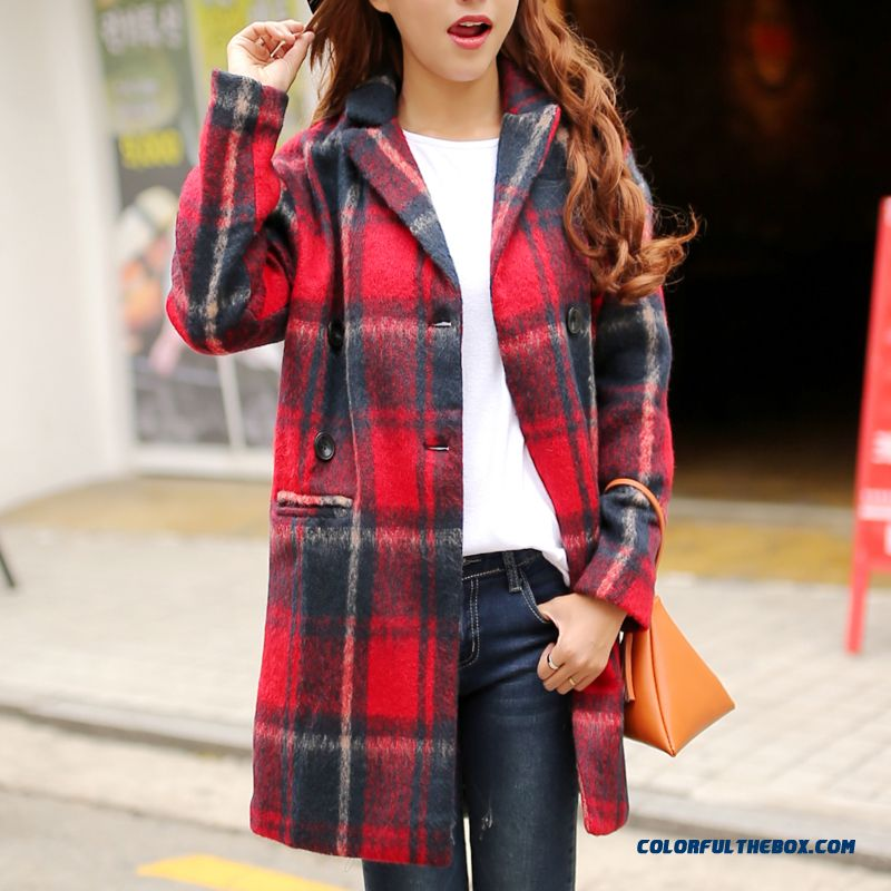 2015 Autumn And Winter New Women Woolen Coat Slim Plus Size Red Black Loose Young