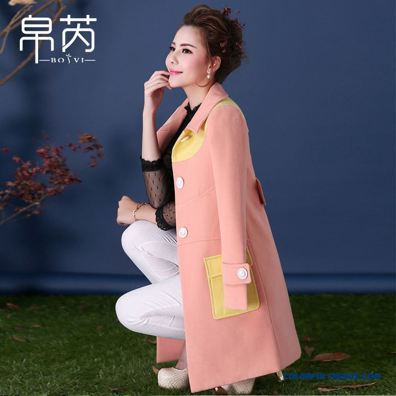 2015 Autumn And Winter Slim Thin Grey Pink Long Section Of Women Woolen Coat