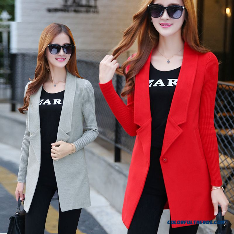 2015 Autumn And Winter Slim Women Woolen Coat Medium Style Casual Large Size Tide