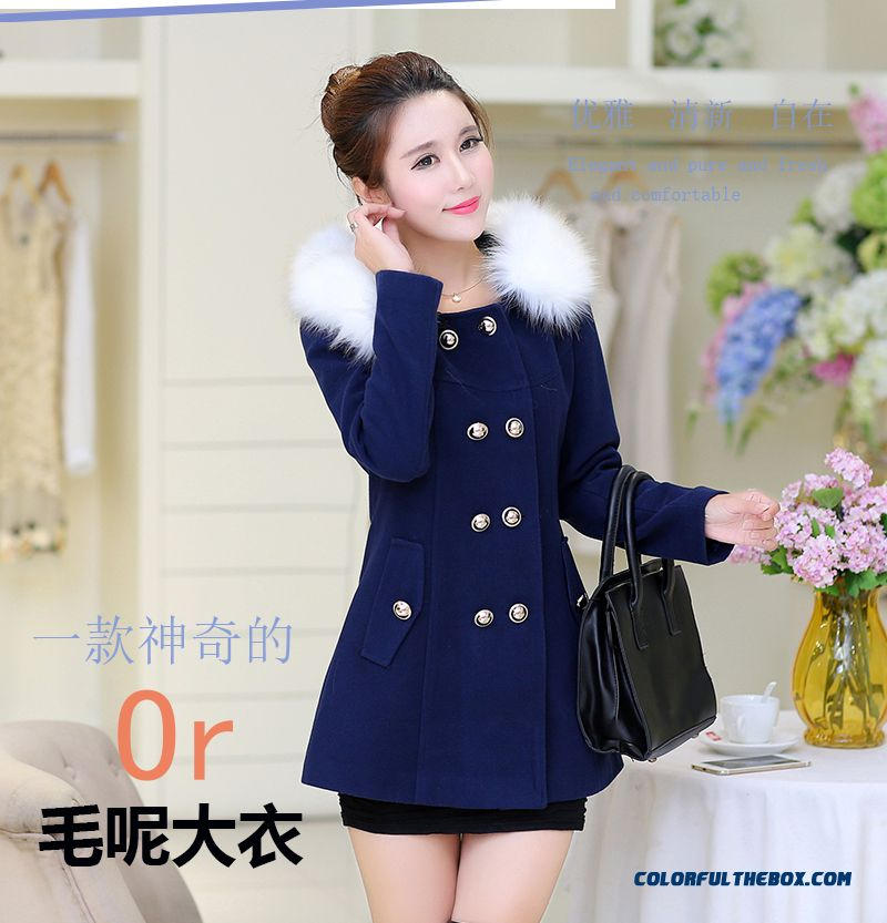 2015 Autumn And Winter Solid Colorhigh Quality Fashion Slim Women's Woolen Hooded Coat