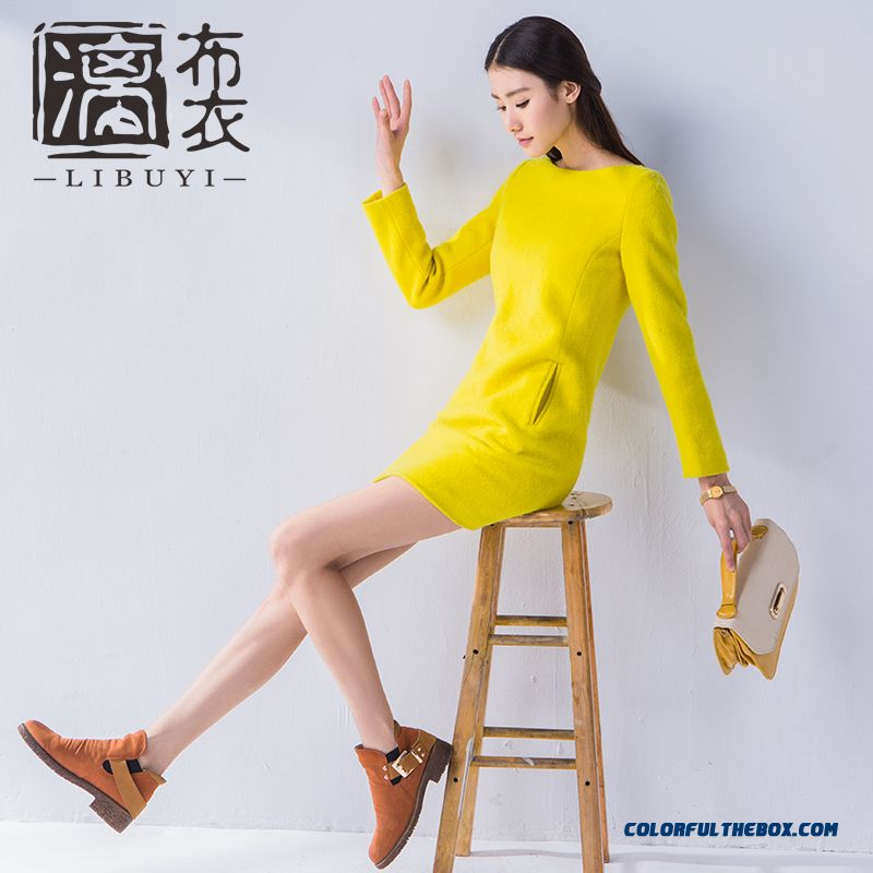 2015 Autumn And Winter Women Long-sleeved Thick Woolen Dress Thin And Slim