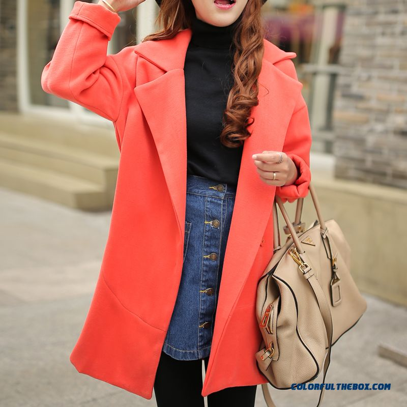2015 Autumn New Large Size Women Thin Candy-colored Long Sections Woolen Coat Coat - more images 1