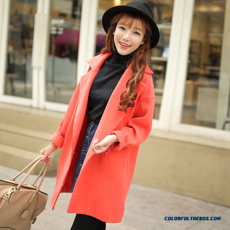 2015 Autumn New Large Size Women Thin Candy-colored Long Sections Woolen Coat Coat - more images 2