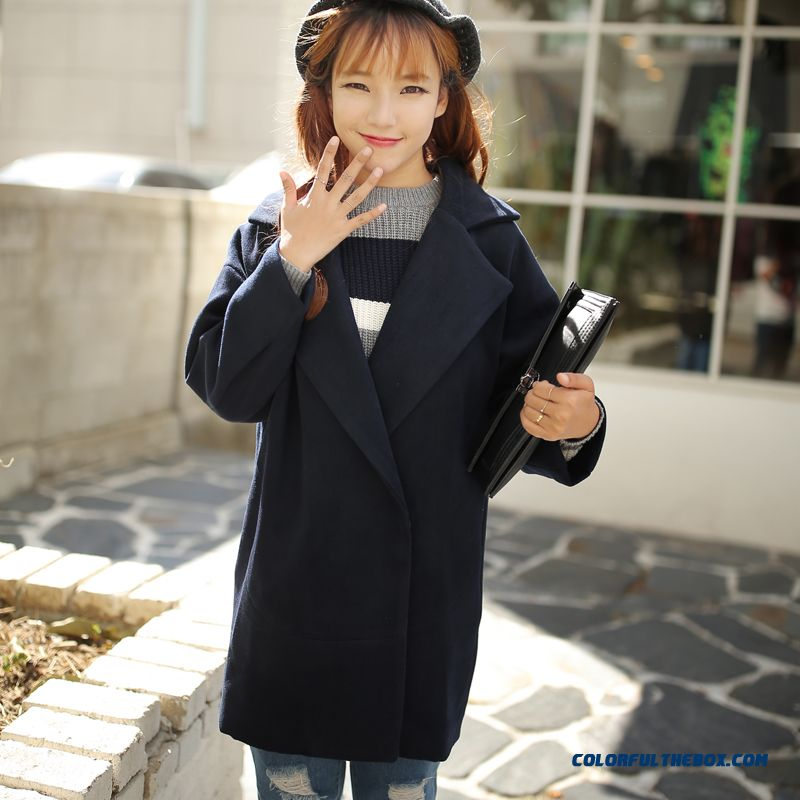 2015 Autumn New Large Size Women Thin Candy-colored Long Sections Woolen Coat Coat - more images 4