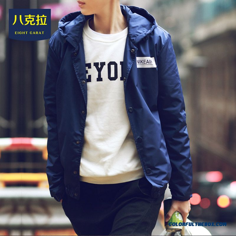2015 Best Selling New Men Autumn Thin Slim Blue Hooded Jacket