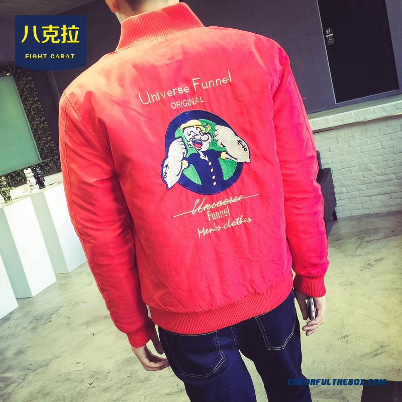 2015 Best Selling New Winter Embroidery Cartoon Baseball Slim Cotton Jacket