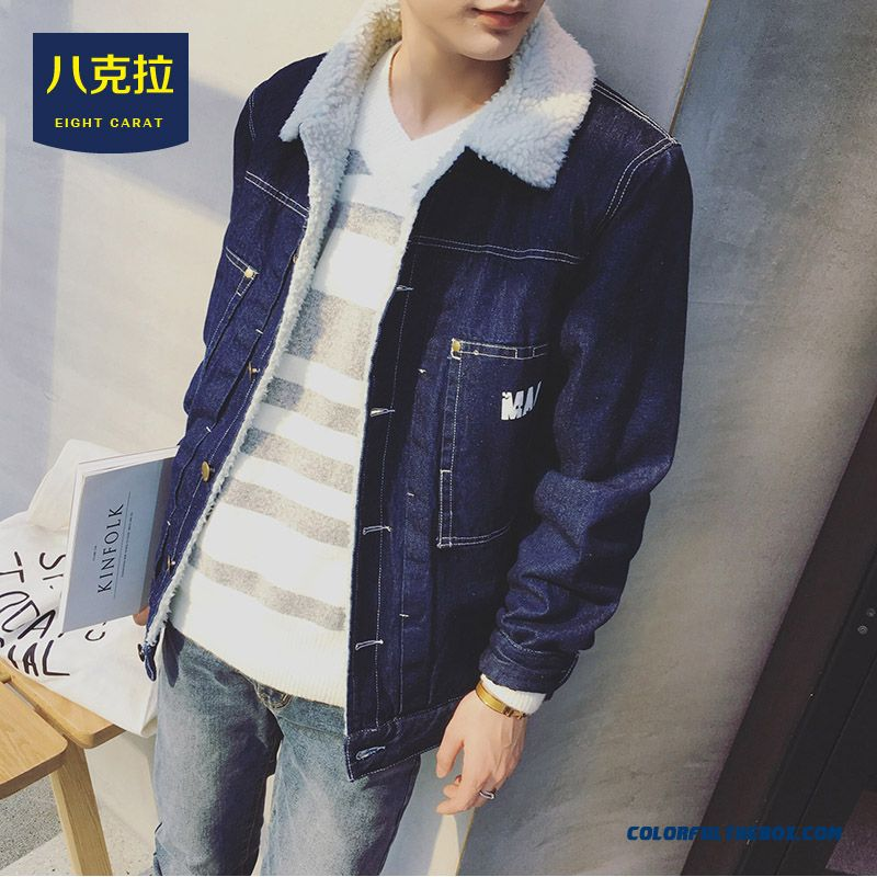 2015 Best Selling New Winter Men Thicken Losse Blue Denim Jacket Retro