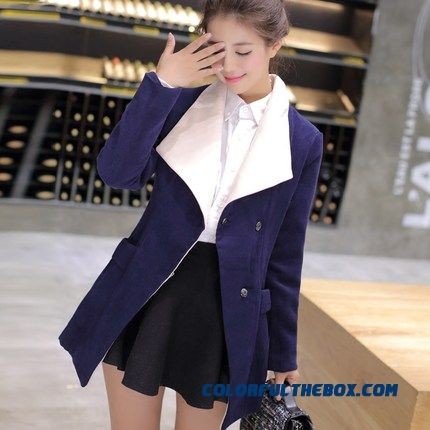 2015 Casual Style Winter Women's New Mantle Lapel Woolen Coats