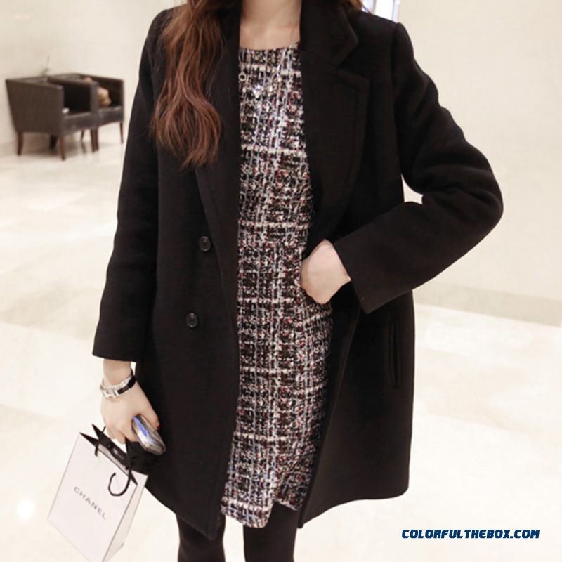 2015 Fall Winter Woolen Coat Women Woolen Coat Double-breasted Loose Casual Black Medium Style