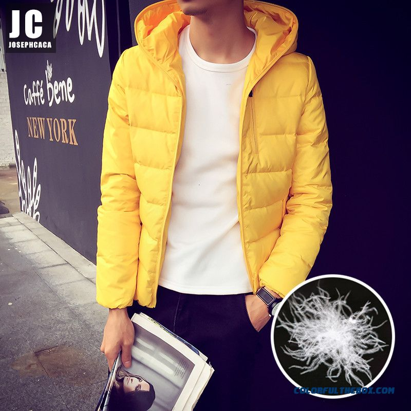 2015 High Quality Men Hooded Coat Slim Large Size Short Winter Young