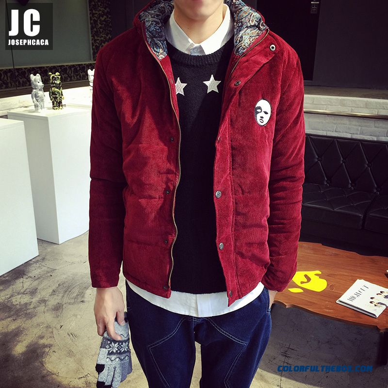 2015 High Quality Men Jacket Retro Hooded Cotton Jacket Red Corduroy