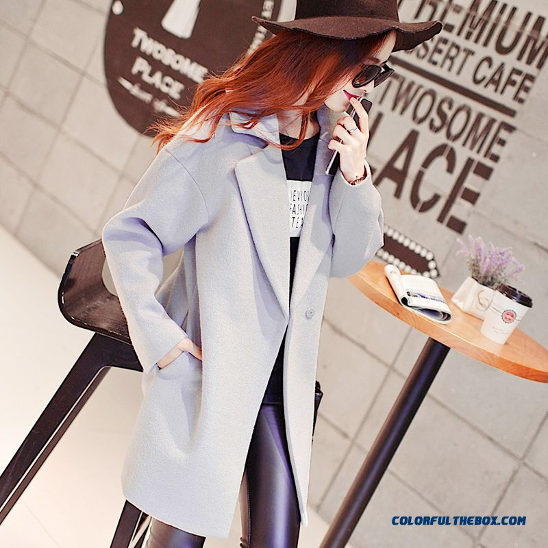 2015 Loose Style Winter Women's New Medium Style Woolen Coats Large Size