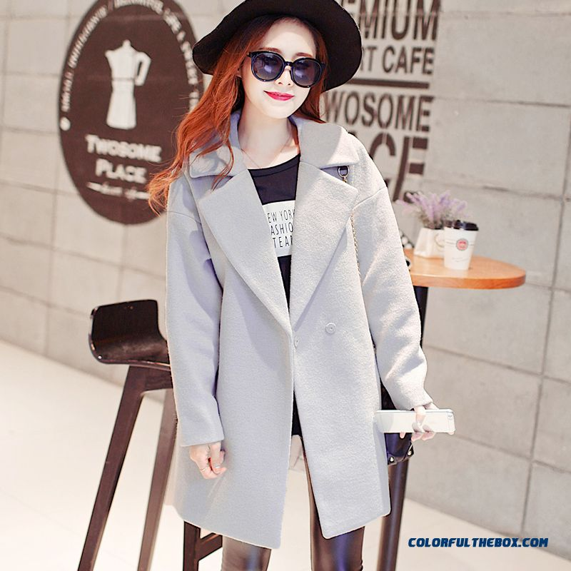 2015 Loose Style Winter Women's New Medium Style Woolen Coats Large Size - more images 2