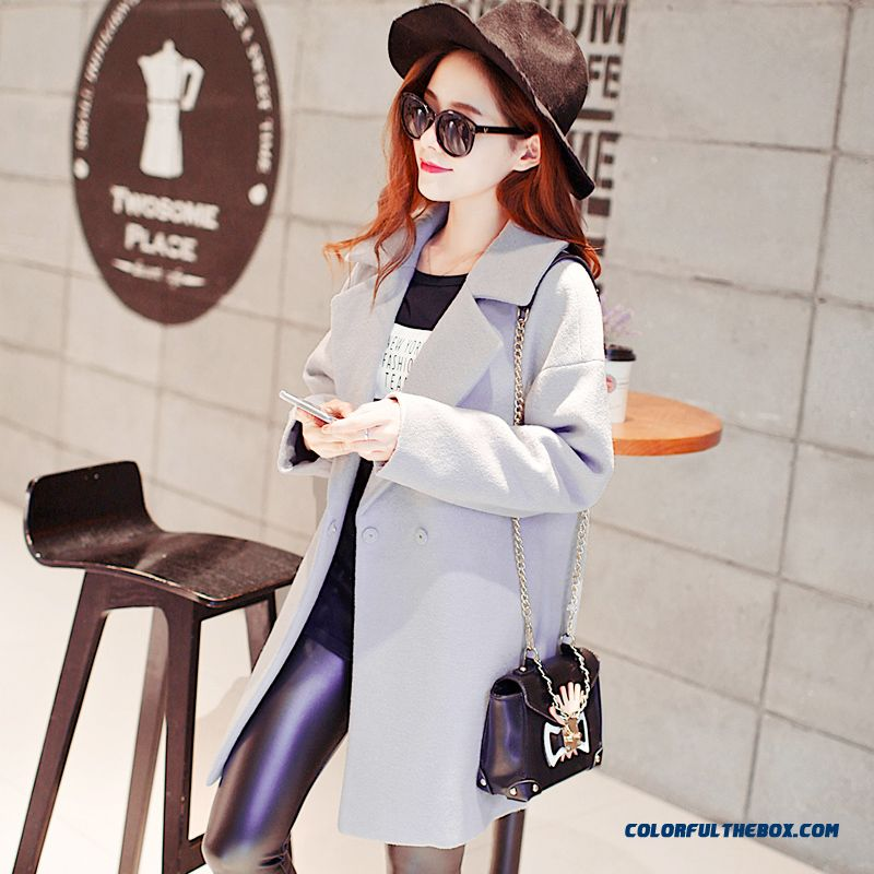 2015 Loose Style Winter Women's New Medium Style Woolen Coats Large Size - more images 3