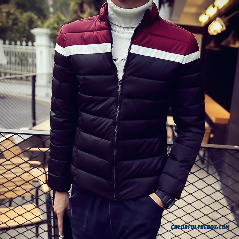 2015 Men's Thick Winter Stand Collar Slim Warm Padded Cotton Large Size Comfortable Coats - more images 1