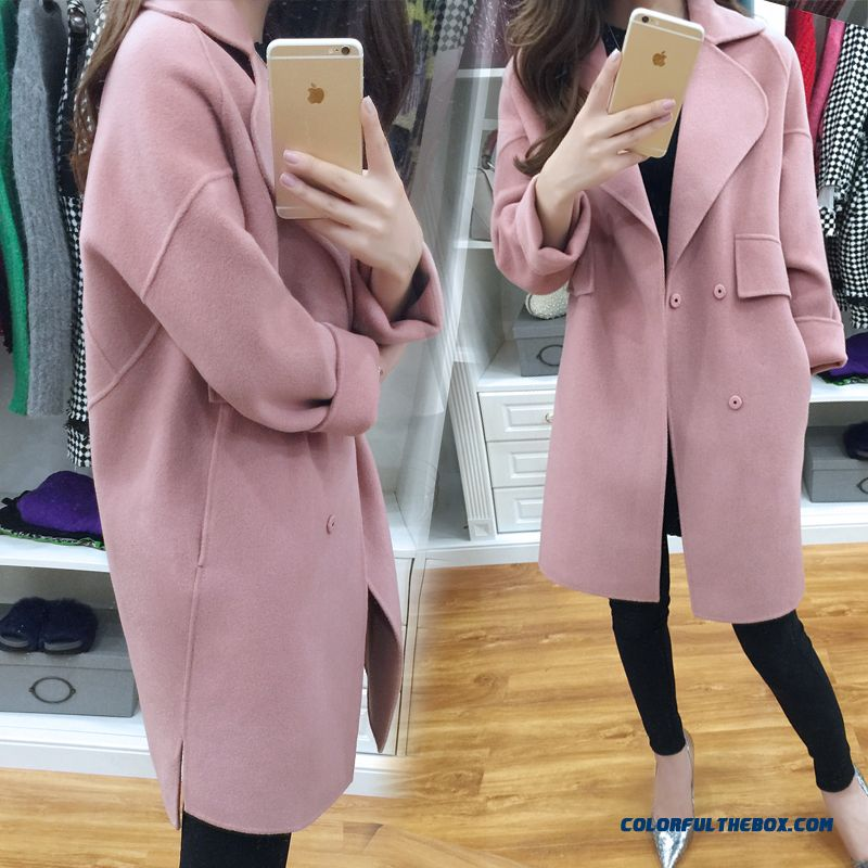 2015 New Autumn And Winter Medium Style Double-sided Wool Woolen Coat