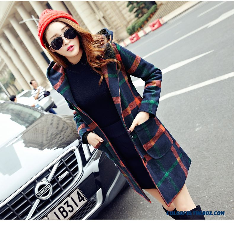 2015 New Autumn And Winter Mode Woolen Coat Women Medium Style Large Size Thin