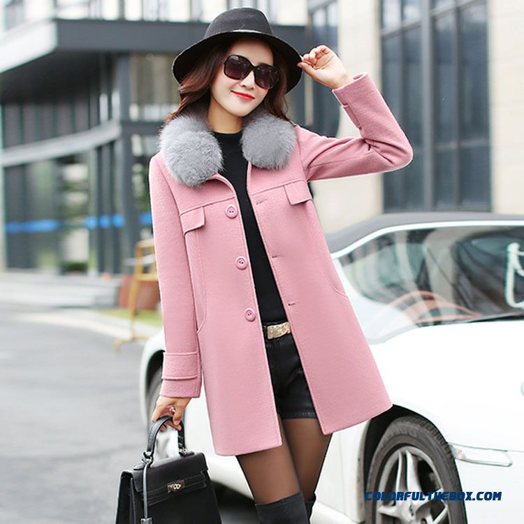 2015 New Autumn And Winter Quality Medium Style Slim Women's Woolen Fue Collar Coat