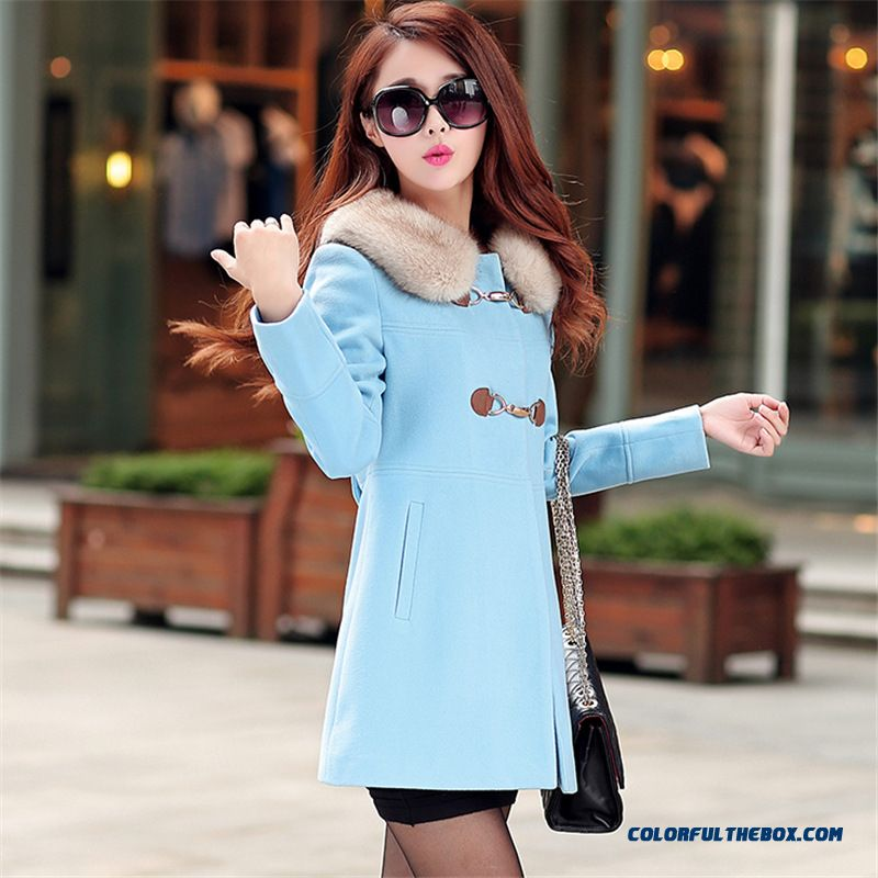 2015 New Autumn And Winter Quality Medium Style Slim Women's Woolen Ovo Collar Coat