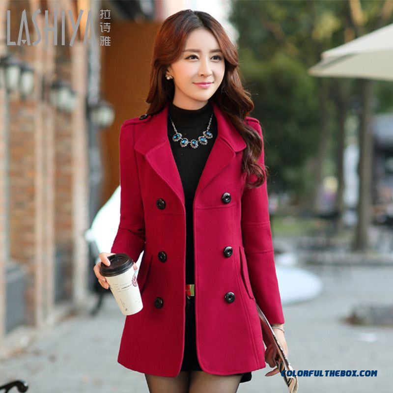 2015 New Autumn And Winter Woolen Coat Female Korean Slim Thick Light Tan Jacket
