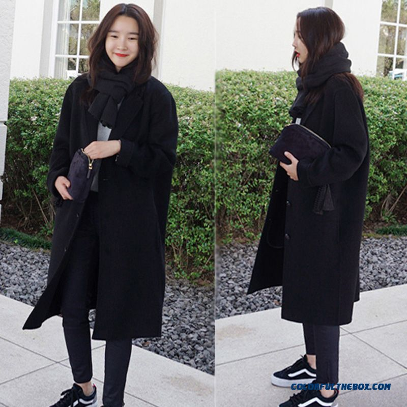 2015 New Autumn Winter Women Woolen Coats Casual Thicken Loose Pius Size