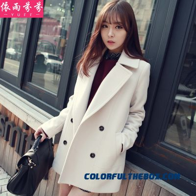 2015 New Autumn Winter Women Woolen Coats Double-breasted Slim White