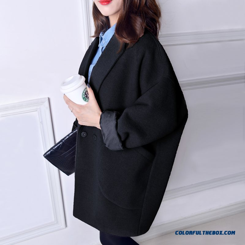 2015 New Autumn Winter Women Woolen Coats Suit Collar Large Pockets Large Size