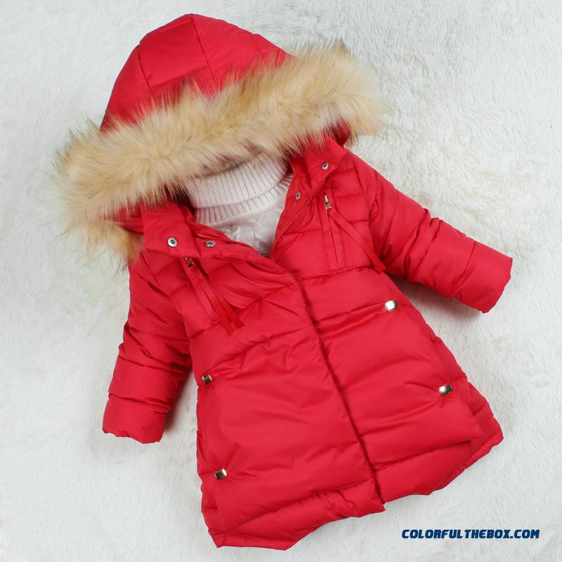 2015 New Baby Girls Cotton Jacket Coat Thick Winter Coat Medium-long Style Fashionable Clothing Keep Warm