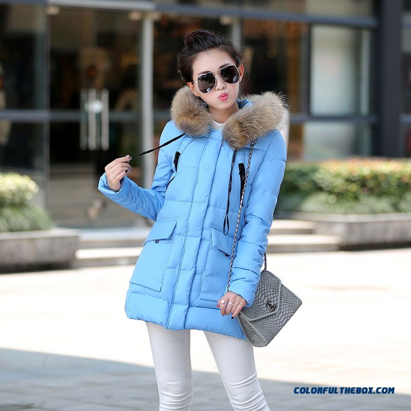 2015 New Coat Girls Long Slim Ovo Collar Thicken Winter Jacket Coat Large Size