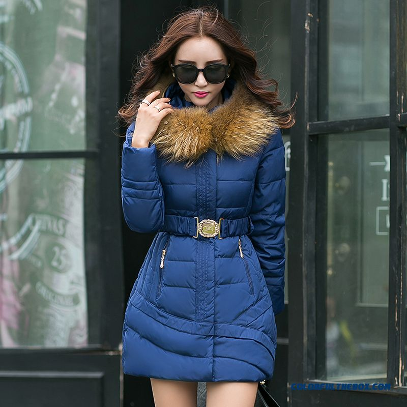 2015 New Coat Medium Length Slim Tide Thick Padded Jacket Female Large Warm Winter Coat