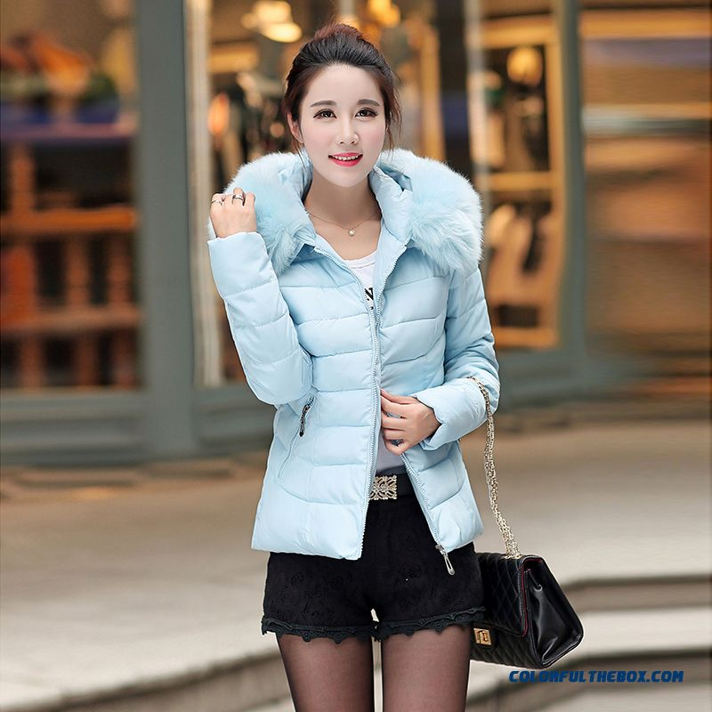2015 New Korean Slim Big Fur Collar Thick Hooded Down Jacket Large