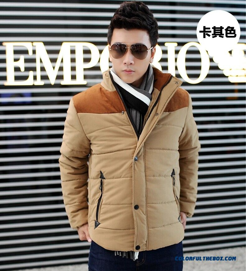2015 New Men Thick Warm Winter Coat Slim Casual Jacket Stand Collar Youth