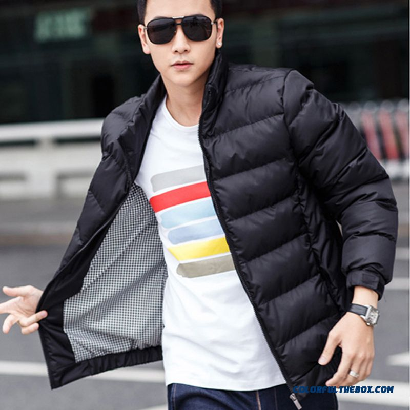 2015 New Men's Winter Coat Slim Fashion Stand Collar Thick Warm Jacket Teenagers