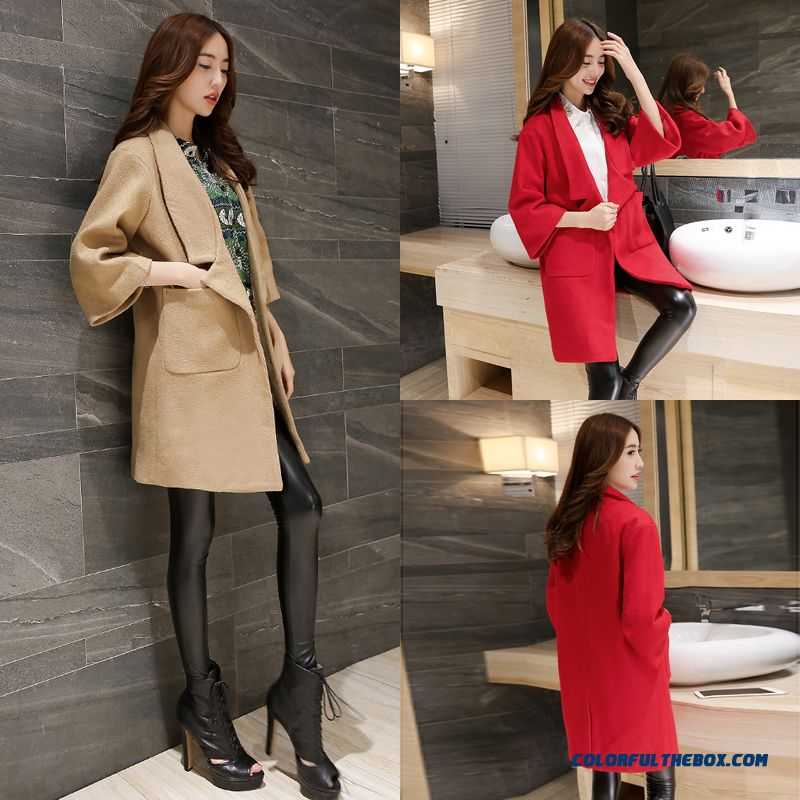 2015 New Spring And Autumn High Quality Fashion Slim Suit Loose Lapel Women's Woolen Coat - more images 1