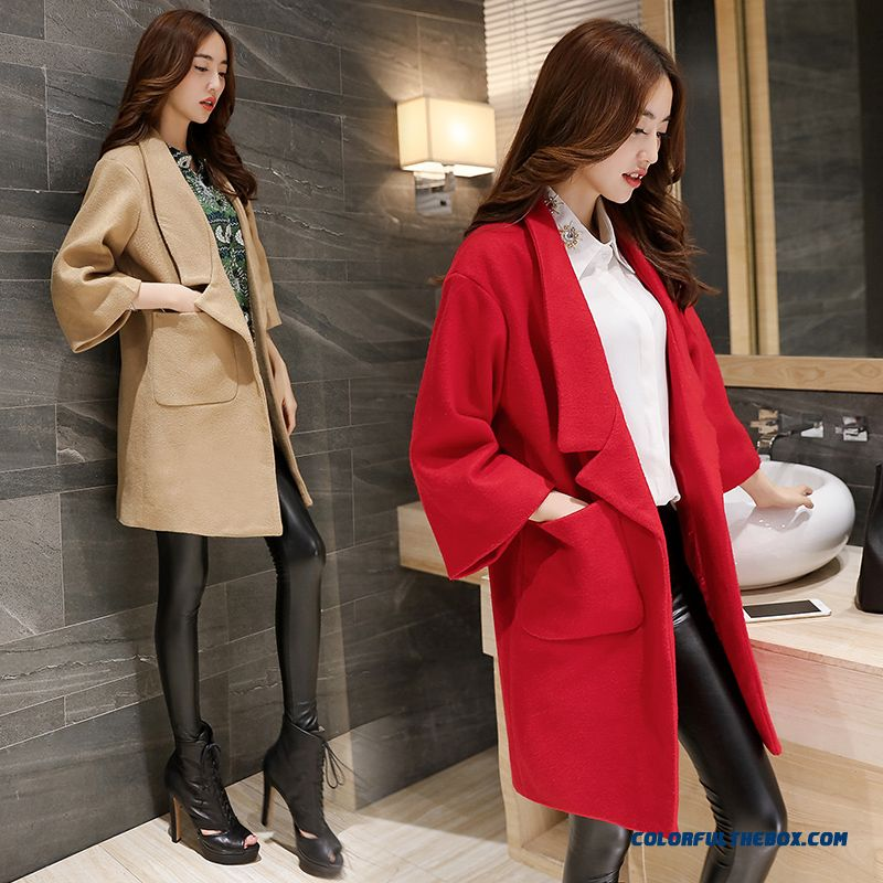 2015 New Spring And Autumn High Quality Fashion Slim Suit Loose Lapel Women's Woolen Coat - more images 2