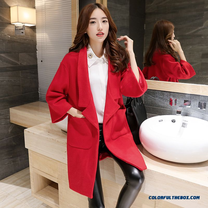 2015 New Spring And Autumn High Quality Fashion Slim Suit Loose Lapel Women's Woolen Coat - more images 3