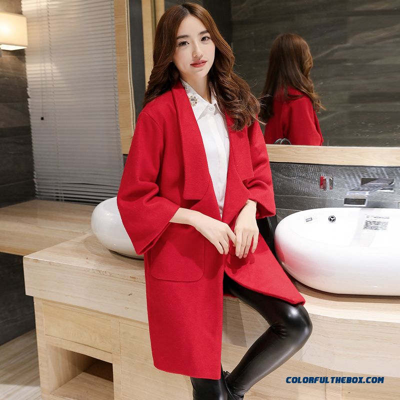 2015 New Spring And Autumn High Quality Fashion Slim Suit Loose Lapel Women's Woolen Coat - more images 4