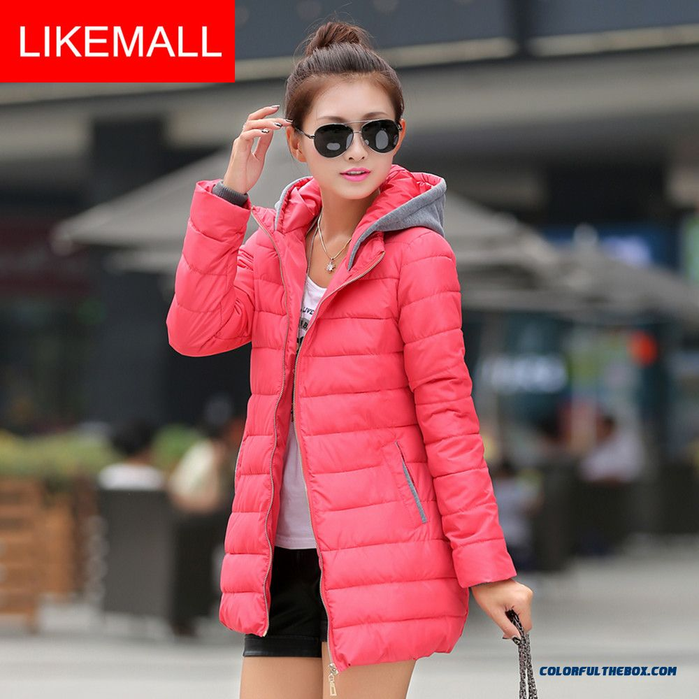 2015 New Winter Brand Fashion Women Down Jacket Red White Black Warm Medium Coat