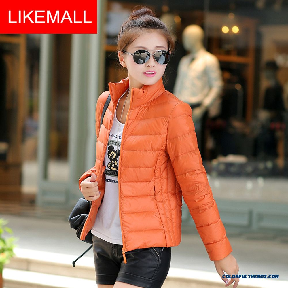 2015 New Winter Brand Fashion Women Down Jacket Stand-up Collar Short Thin Promotion