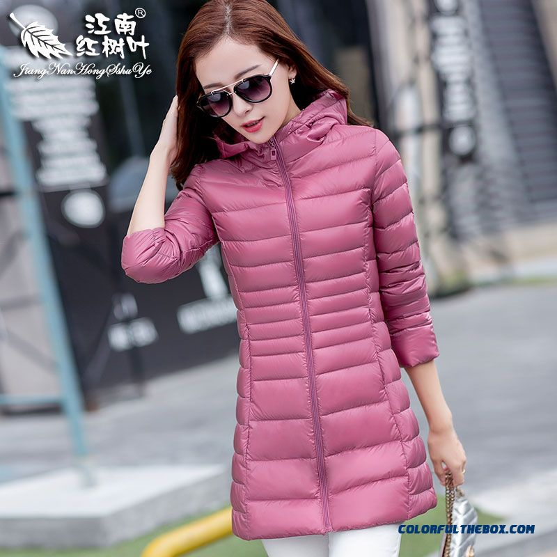 2015 New Winter Brand Fashion Women Down Jacket Thin Pink Red Medium Style Coat
