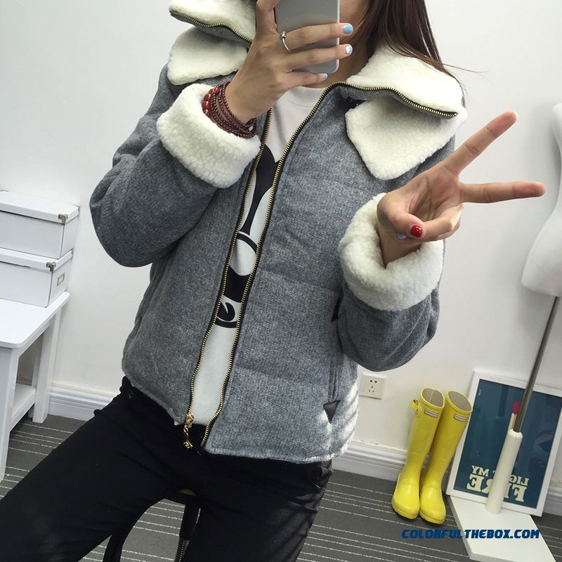 2015 New Winter Coat Female Short Grey Black Slim Jacket Tide Cheap
